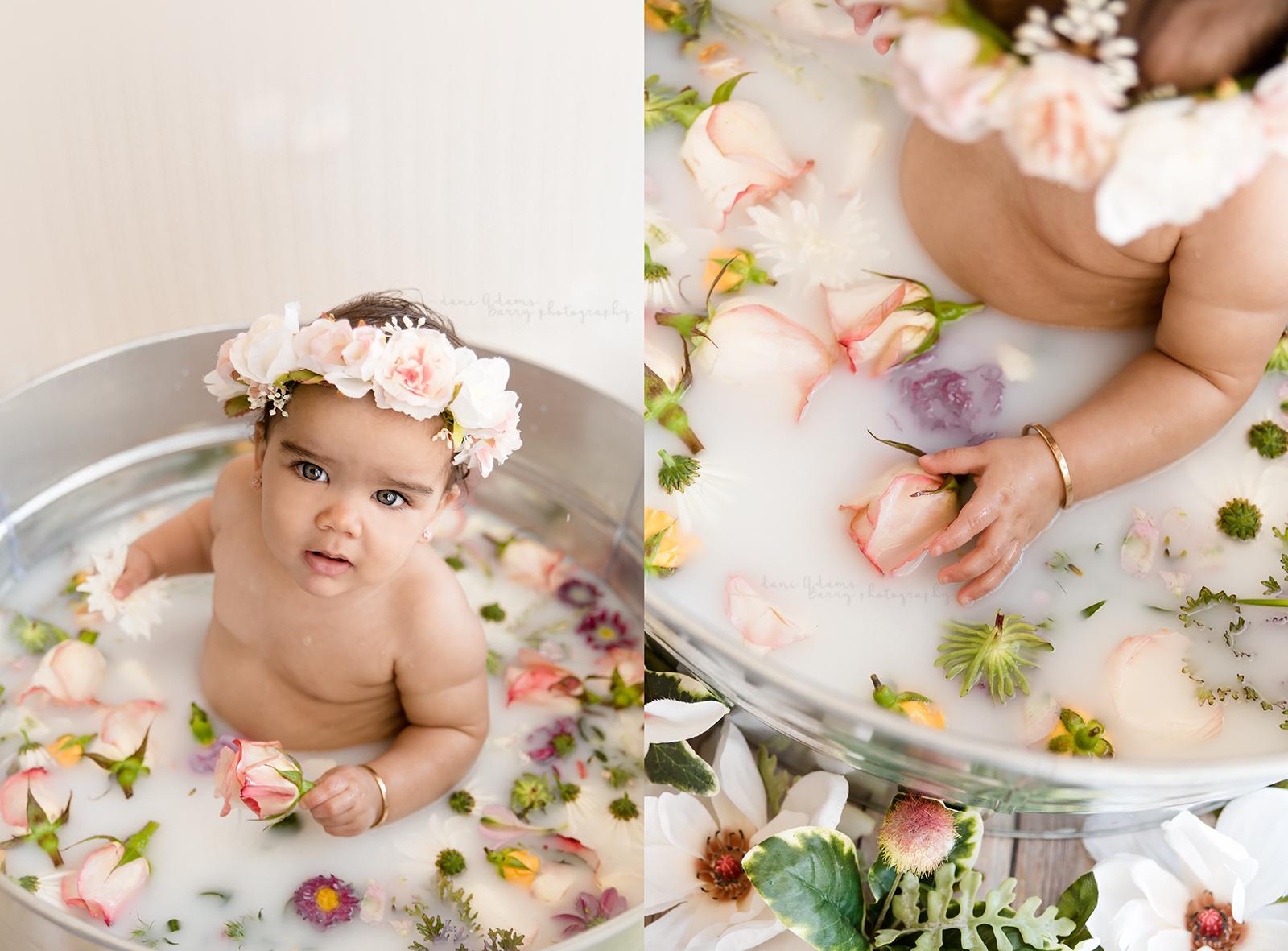 Amazing Baby Milestone Milk Bath Photography You will Want